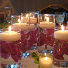 10 Piece Set Cylinder Glass Vases with Orchids, Floating Candles and Votive Candles