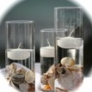 Set of 3 SeaShells Cylinder Vases with Floating Candles Centerpiece