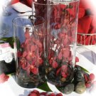 Set of 3 Cylinder Vases with Orchids and Rocks Centerpiece