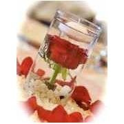 12 Rose & Floating Candles Glass Cylinder Vase Wedding Reception Table Centerpieces