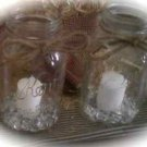 Set Of 12 Shabby Chic Rustic Mason Jar Wedding Reception Table Centerpieces
