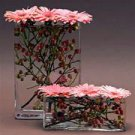 10 Gerbera Daisy & Berries Wedding Reception Glass Vase Centerpieces - Custom Made To Order