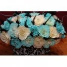 Damask & Handmade Roses With Feather Accents Wedding Reception Head Table Centerpiece