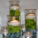 Set Of 6 Hydrangeas & Rhinestones Wedding Reception Glass Vase Centerpiece