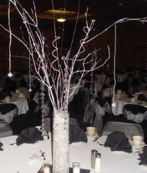Winter Wonderland Manzanita Tree with Beaded Garland Accents Wedding Centerpiece