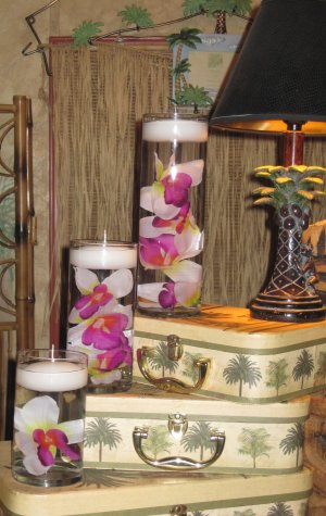 18 Piece Set Orchids Wedding Reception Table Centerpiece - Custom Made To Order