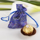 Chinese Style Flower Print Favor Bag – Small (Set of 12) - Blue