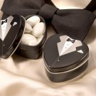 """Dressed To The Nines"" Classic Bride & Groom Favor Tin (Set of 12) - Black"