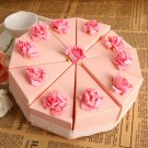 Pink Cake Favor Boxes With Lace (Set of 10)
