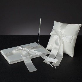 Tied with a Bow Guest Book and Ring Pillow Collection Set