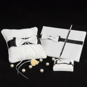 Black & White Wedding Accessory Collection (3 Pieces Set)