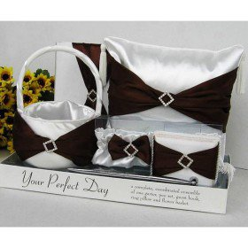 Brown Sash Wedding Set in Clear Display Box (5 Piece Set)