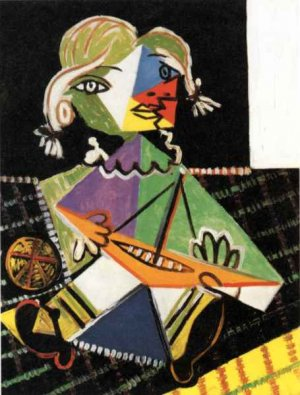 """""""Girl with boat"""" (1957) poster by Picasso"""