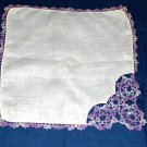 White Hankie - Hand Tatted Edging - Purples - Shipping has been REDUCED!!!