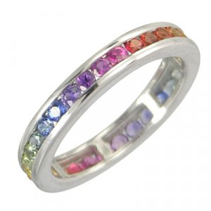 3ct Multicolor Rainbow Sapphire Eternity Ring 925 Sterling Silver with Rhodium Platting