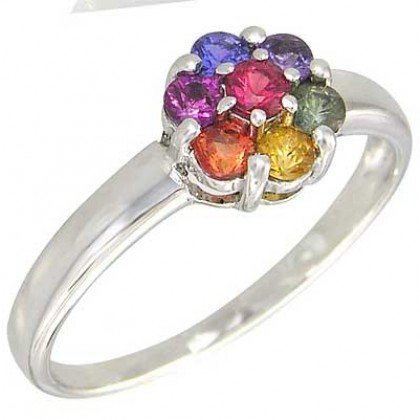 Rainbow Sapphire Flower Cluster Ring 925 Sterling Silver (1ct tw) SKU: 1582-925