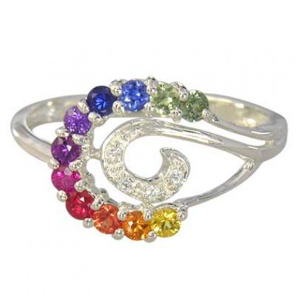 Rainbow Sapphire & Diamond Swirl Ring 925 Sterling SIlver (0.62ct tw) SKU: 1437-925
