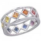 Rainbow Sapphire Bezel Set Eternity Ring 925 Sterling Silver (1.6ct tw) SKU: 973-925
