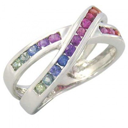Rainbow Sapphire Crossover Ring 925 Sterling Silver (1.2ct tw) SKU: 470-925