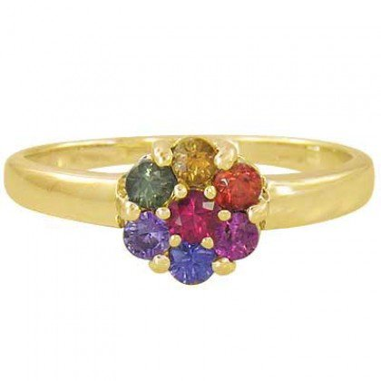 Rainbow Sapphire Flower Cluster Ring 14K Yellow Gold (1ct tw) SKU: 1582-14K-YG