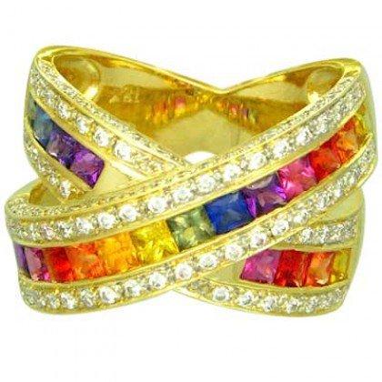 Rainbow Sapphire & Diamond Large Crossover Ring 14K Yellow Gold (3.5ct tw) SKU: 628-14K-YG