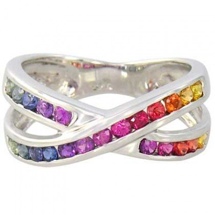 Rainbow Sapphire Crossover Ring 14K White Gold (1.2ct tw) SKU: 470-14K-WG