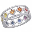 Rainbow Sapphire Bezel Set Eternity Ring 14K White Gold (1.6ct tw) SKU: 973-14K-WG