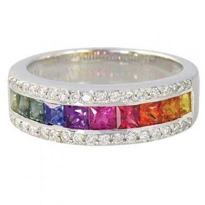Rainbow Sapphire & Diamond Channel Set Ring 14K White Gold (2.3ct tw) SKU: 1533-14K-WG