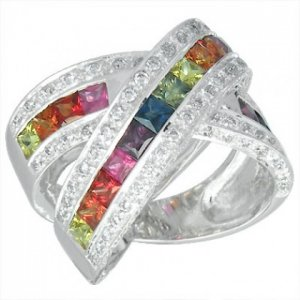 Rainbow Sapphire & Diamond Large Crossover Ring 14K White Gold (3.5ct tw) SKU: 628-14K-WG