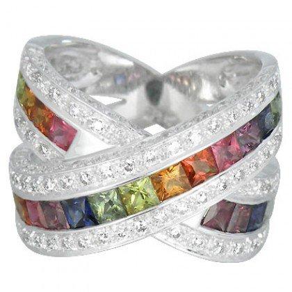 Rainbow Sapphire & Diamond Large Crossover Ring 18K White Gold (3.5ct tw) SKU: 628-18K-WG