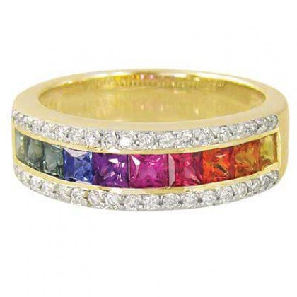 Rainbow Sapphire & Diamond Channel Set Ring 18K Yellow Gold (2.3ct tw) SKU: 1533-18K-YG
