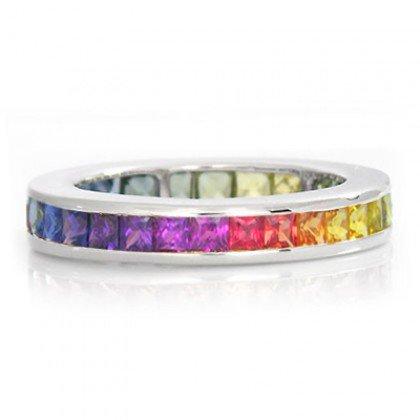 Rainbow Sapphire Eternity Ring 18K White Gold (3ct tw) SKU: R2045-18K-WG