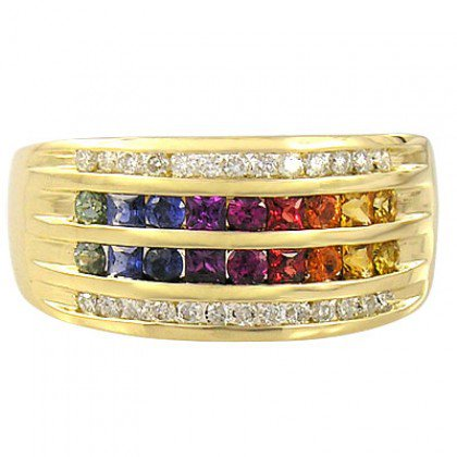 Rainbow Sapphire & Diamond Multi Shape Band Ring 14K Yellow Gold (1.35ct tw) SKU: 1523-14K-YG
