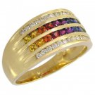 Rainbow Sapphire & Diamond Multi Shape Band Ring 18K Yellow Gold (1.35ct tw) SKU: 1523-18K-YG