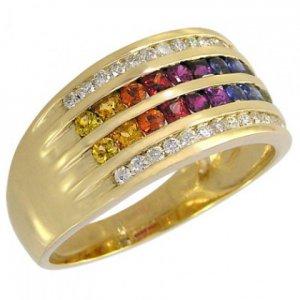 Rainbow Sapphire & Diamond Multi Shape Band Ring 18K Yellow Gold (1.35ct tw) SKU: 1523-18K-YG