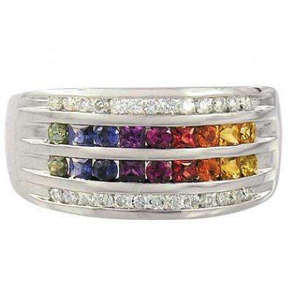 Rainbow Sapphire & Diamond Multi Shape Band Ring 14K White Gold (1.35ct tw) SKU: 1523-14K-WG