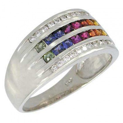 Rainbow Sapphire & Diamond Multi Shape Band Ring 18K White Gold (1.35ct tw) SKU: 1523-18K-WG