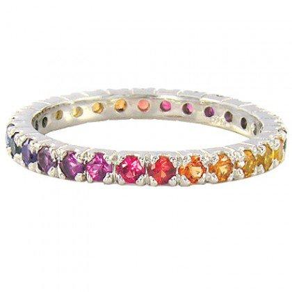Rainbow Sapphire Pave Set Eternity Ring 14K White Gold (3ct tw) SKU: 1512-14K-WG