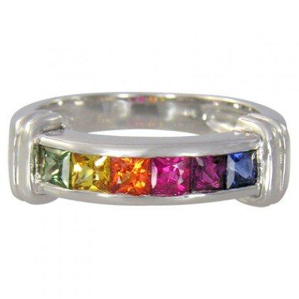 Rainbow Sapphire Band Ring 14K White Gold (1ct tw) SKU: 312-14K-WG