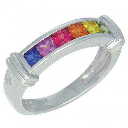 Rainbow Sapphire Band Ring 18K White Gold (1ct tw) SKU: 312-18K-WG