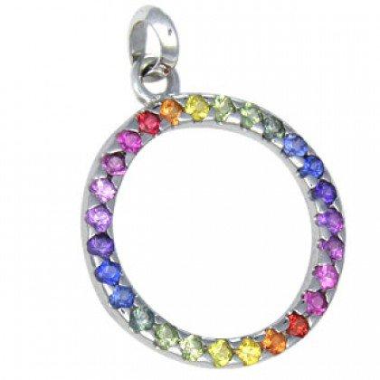 Rainbow Sapphire Circle of Life Pendant 18K White Gold (1.2ct tw) SKU: 335-18K-WG