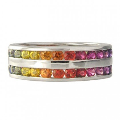 Rainbow Sapphire Double Row Eternity Ring 925 Sterling Silver (6ct tw) SKU: 391-925