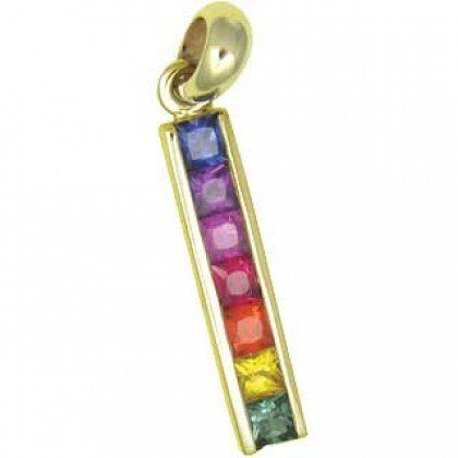 Rainbow Sapphire Long Bar Pendant 18K Yellow Gold (1.3ct tw) SKU: 540-18K-YG