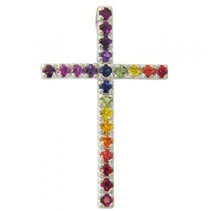Rainbow Sapphire Religious Crucifix Pendant 14K White Gold (3ct tw) SKU: 1525-14K-WG