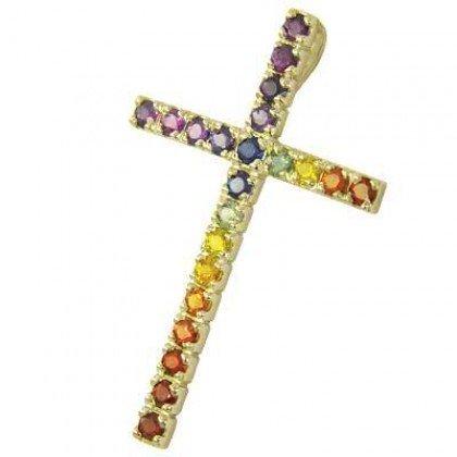 Rainbow Sapphire Religious Crucifix Pendant 18K Yellow Gold (3ct tw) SKU: 1525-18K-YG