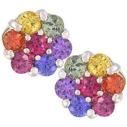 Rainbow Sapphire Earrings Flower Cluster 14K White Gold (2ct tw) SKU: 1617-14K-WG
