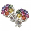 Rainbow Sapphire Earrings Flower Cluster 18K White Gold (2ct tw) SKU: 1617-18K-WG