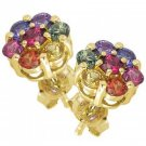 Rainbow Sapphire Earrings Flower Cluster 18K Yellow Gold (2ct tw) SKU: 1617-18K-YG