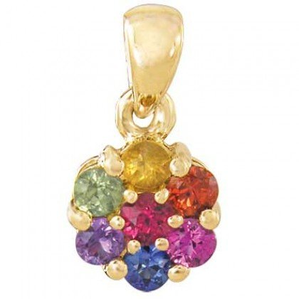 Rainbow Sapphire Flower Cluster Pendant 14K Yellow Gold (1ct tw) SKU: 1616-14K-YG