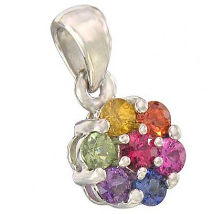 Rainbow Sapphire Flower Cluster Pendant 18K White Gold (1ct tw) SKU: 1616-18K-WG
